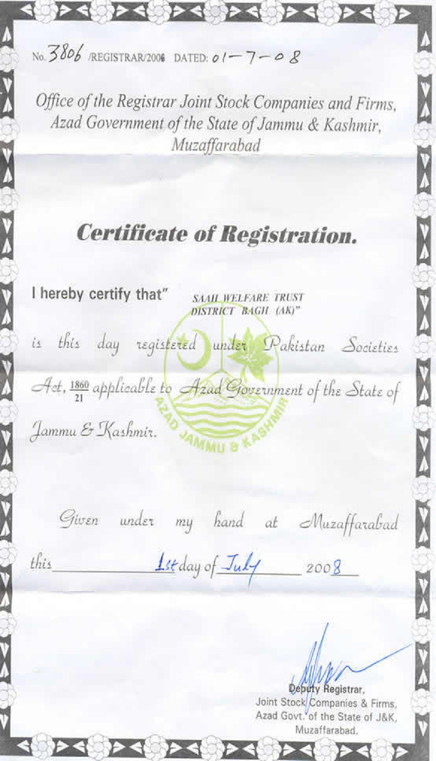 Lujo Certificate Of Registration Festooning - Certificado Actas de ...